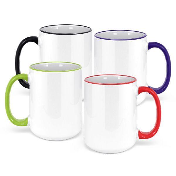 15oz. White Ceramic Sublimation Coffee Mug with Colored Rim and Handle