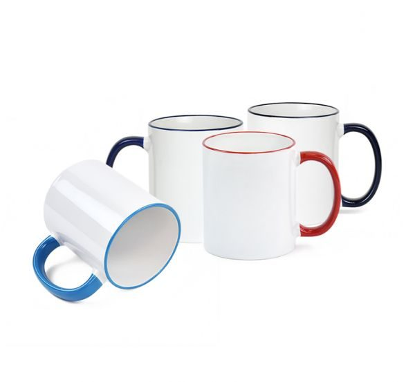 White Ceramic Sublimation Coffee Mug with Colored Rim/Handle - 11oz